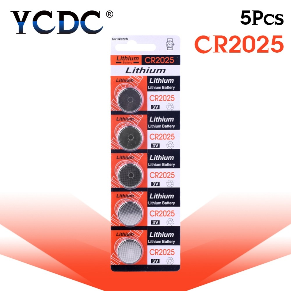 цена на YCDC 100% Original For watch cr2025 Button battery 3 volt lithium coin cell battery ecr2025 br2025 2025 kcr2025 bulk 5pcs sale