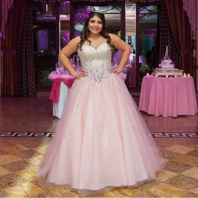 eeb7f59e2 Amor atractivo Prom Vestidos Más del tamaño Vestidos De Festa Longo Rosa  Claro Cristales de Perlas