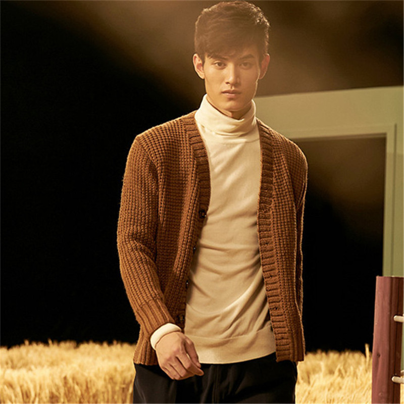 100% Hand Made Pure Wool Knit Men Fashion Vneck Solid Single Breasted Open Hem Cardigan Sweater White 5color Customized