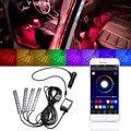 1 Unidades 9LED Atmósfera Interior Del Piso Decorativo Lámpara de Luz de Tira RGB Coche Inteligente Inteligente APLICACIÓN de Teléfono Inalámbrico de Control Car Styling