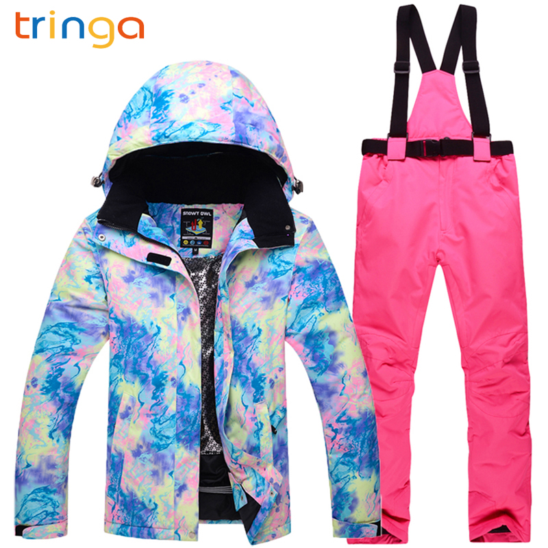 TRINGA Ski Suit Women Brands Waterproof Windproof Ski Jacket and Trousers Thicken Warm Clothes Pants  Skiing Snowboarding SuitsTRINGA Ski Suit Women Brands Waterproof Windproof Ski Jacket and Trousers Thicken Warm Clothes Pants  Skiing Snowboarding Suits