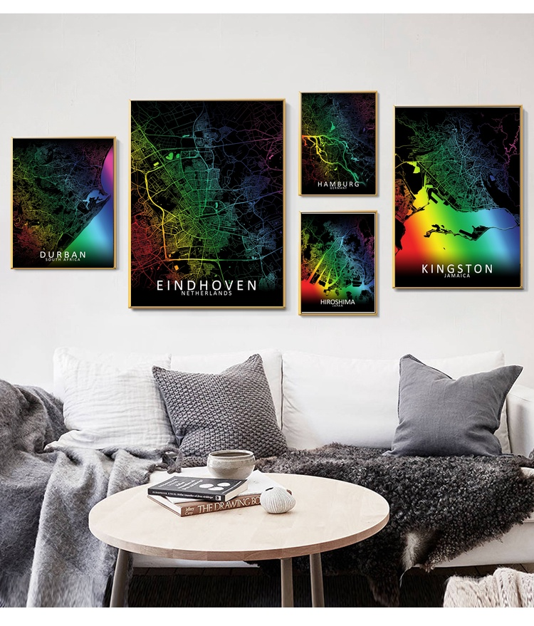 <font><b>Durban</b></font> Eindhoven Hamburg Hiroshima Kingston Louisville Rainbow City Map Art Canvas Poster Prints Home Wall Decor Painting image
