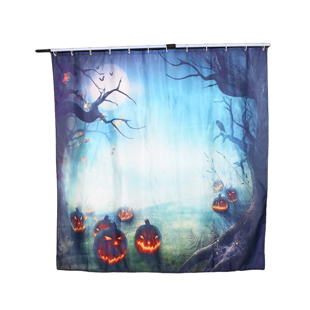 Halloween shower curtain hooks - 180 180 0 02cm 3d Pumpkin Halloween Shower Curtain Home Bathroom Curtains With Hooks