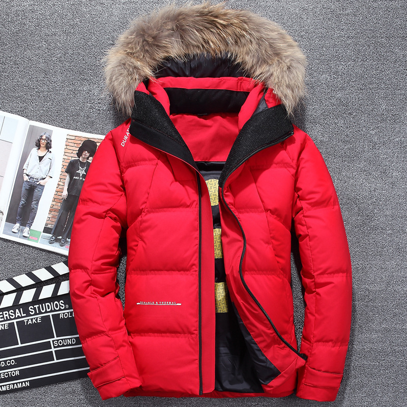 Winter new outdoor men's down jacket thick warm white duck down jacket large fur collar hooded jacket men's sports down jacket