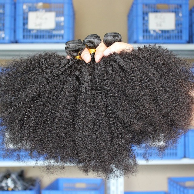 Mongolian Afro Kinky Curly Hair Bundles 100% Human Hair Bundles 4B 4C Natural Black Weave Extensions 3 Bundles Remy Comingbuy 1