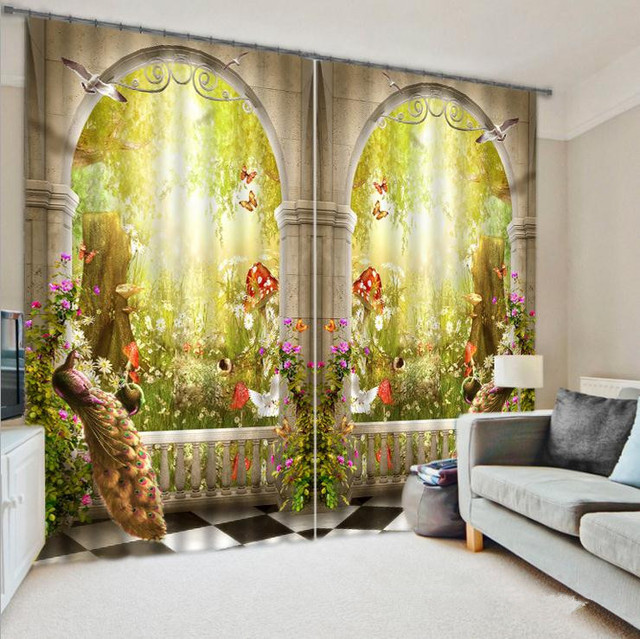 Peacock 3D Printing Blackout Curtains Bedding Room Living Or Hotel Drapes Cortians Sunshade Window Curtain