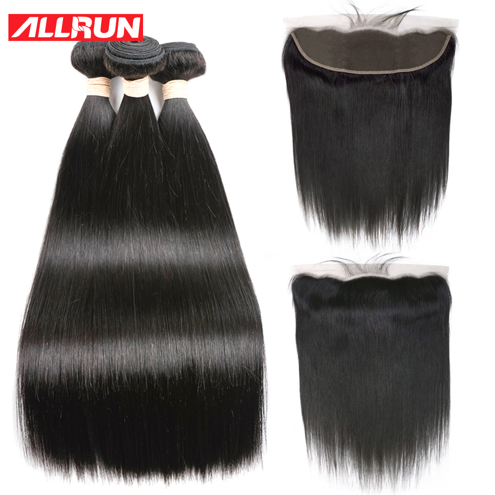 Allrun Products Human Hair Weave Bundles With 13*4 Lace Frontal Closure Non Remy Weft 3 Bundles Malaysian Straight Hair Bundles