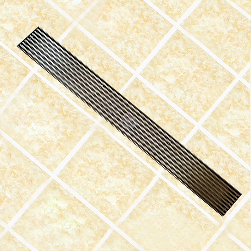 Rectangle SUS304 Stainless Steel Shower Ground Drainage Long Floor Drain 60cm Linear Strainer Bathroom Water Waste Drain Brushed 70cm 304 stainless steel linear nickel brushed toilet floor drain strainer grates waste bathroom shower overflow part pjdl015 5
