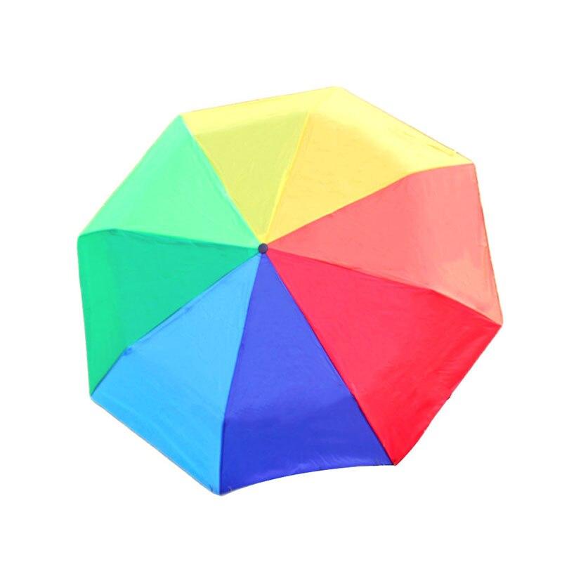 Rainbow Umbrella Tri-Folded Umbrella Anti-UV Parasols Colorful Chidren Portable