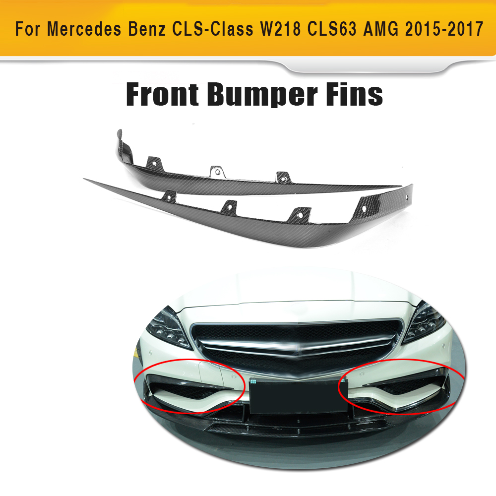 CLS Class Carbon Fiber front bumper wing canards for Mercedes Benz W218 CLS63 AMG S Sedan 4 Door Only 2015-2017 2PCS