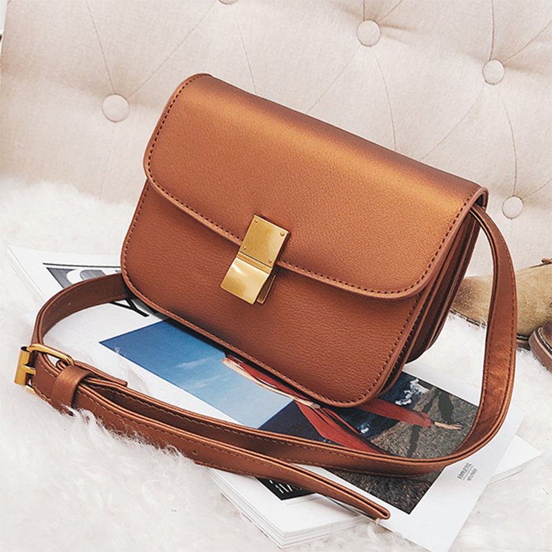 ETAILL Women Classic Box Pu font b Leather b font Messenger Bag Female Crossbody Small Flap