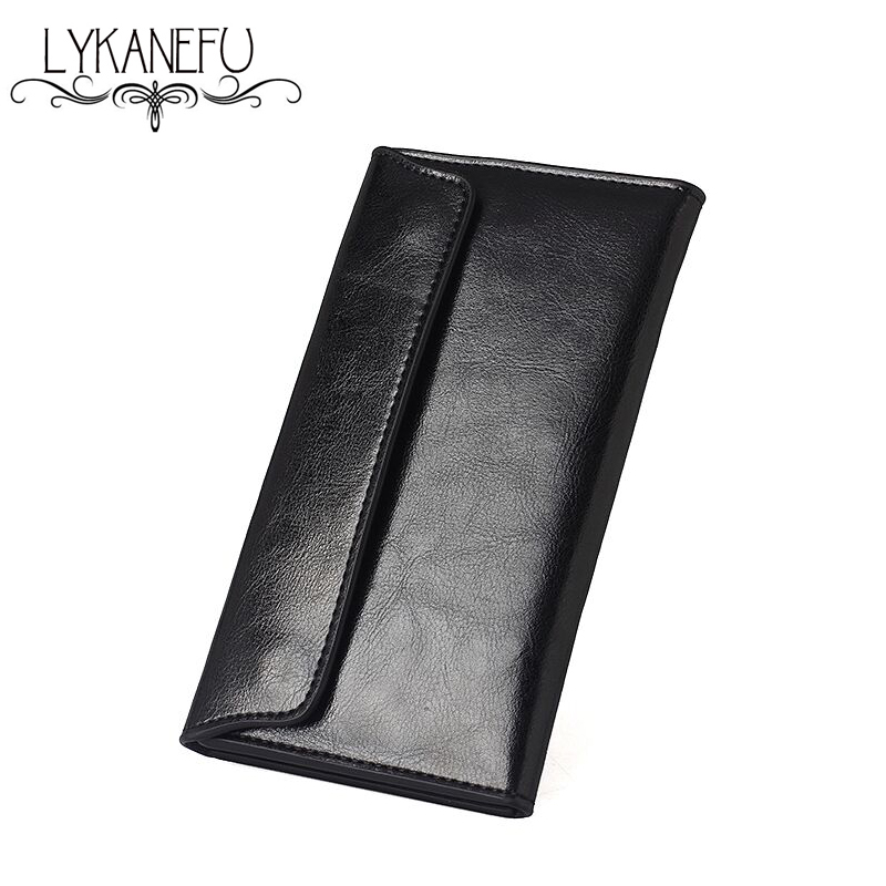 LYKANEFU Leather Wallet Womens Wallets and Purses Clutch Purse Long Thin Design Credit Card Holder Simple Style Dollar Price dollar price new european and american ultra thin leather purse large zip clutch oil wax leather wallet portefeuille femme cuir