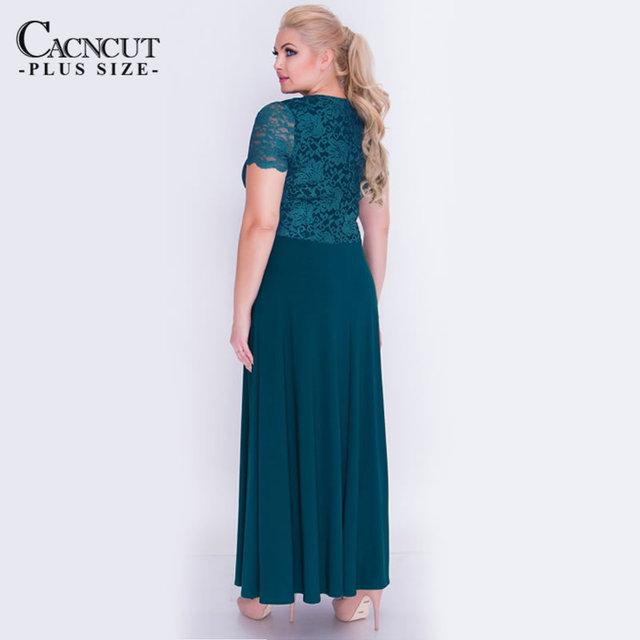 CACNCUT Plus Size 5XL 6XL Lace Patchwork Long Women Dress Summer 2018 Big Size Vintage Solid Maxi Tunic Dress Elegant Vestidos