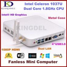 Гарантия 3 года Intel Celeron/pentium dual core Безвентиляторный мини настольных ПК, 4 ГБ Оперативная память 64 ГБ SSD, Dual LAN, USB 3.0, HDMI + VGA, Wi-Fi