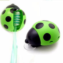 Cute Bathroom Set Sanitary Kids Ladybug Wall Mounted Toothbrush Holder Cartoon Animal Brush Holder With Suction Cup(China)