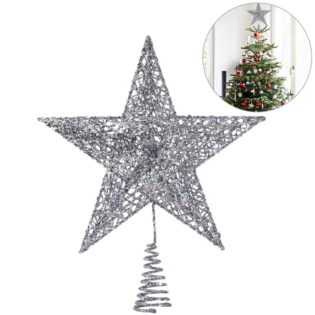NICEXMAS Silver Star Tree Topper Cute Shimmery Star Christmas Tree Top Christmas Tree Decor 5 Point Star Treetop Decor 20cm A20