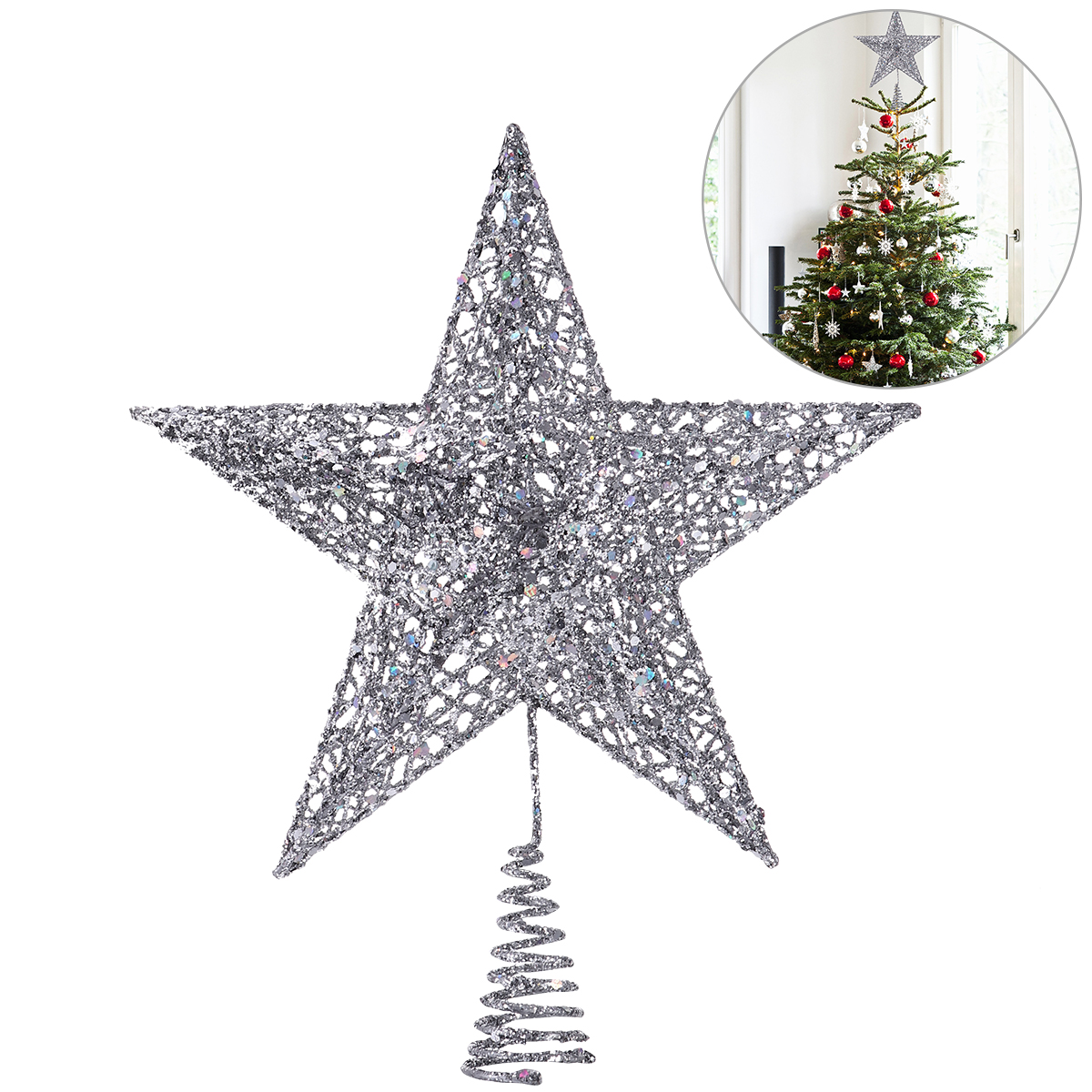 NICEXMAS Christmas Tree Light LED Star Tree Topper Treetop Decoration Gold Light
