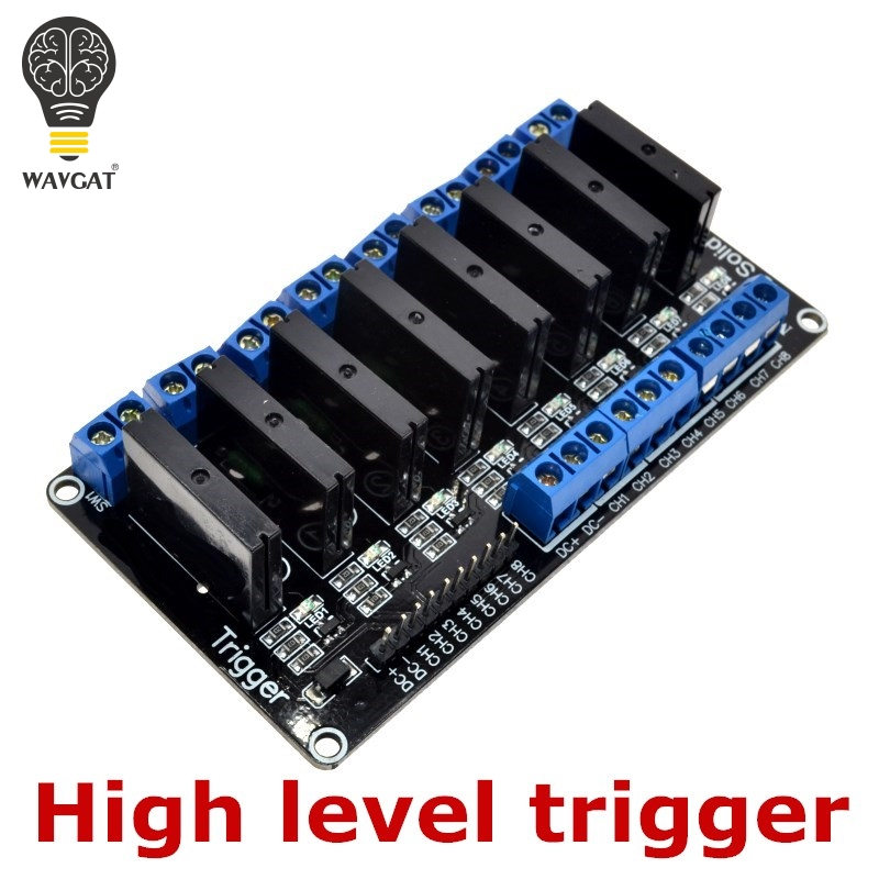 Wavgat 8 canais 5 v dc módulo de relé 250v2a 5 v 8 canais omron nível relé de estado sólido módulo de alto nível gatilho