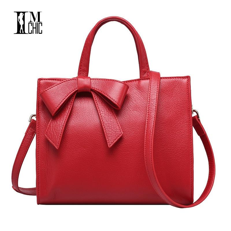 2017 Woman Tote Handbags Genuine Leather Cowhide Sweet Bow Women Messenger Bags Classic OL Business Big Crossbody Shoulder 0205