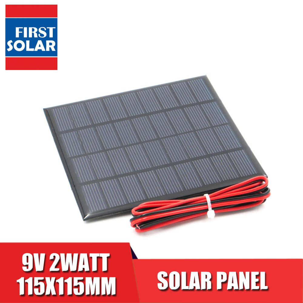 9VDC 2 ワット電源銀行 6V ソーラーパネル多結晶シリコン Diy のバッテリー充電器モジュールミニ太陽電池 LED ランプ