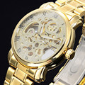 2016 new fashion skeleton military clock Stainless Steel men casual automatic mechanical self wind wrist dress luxury gold watch