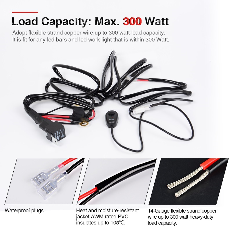 300w 18W 4\'\' 52inch offroad LED Light Bar Wiring Harness Fuse 12V ...