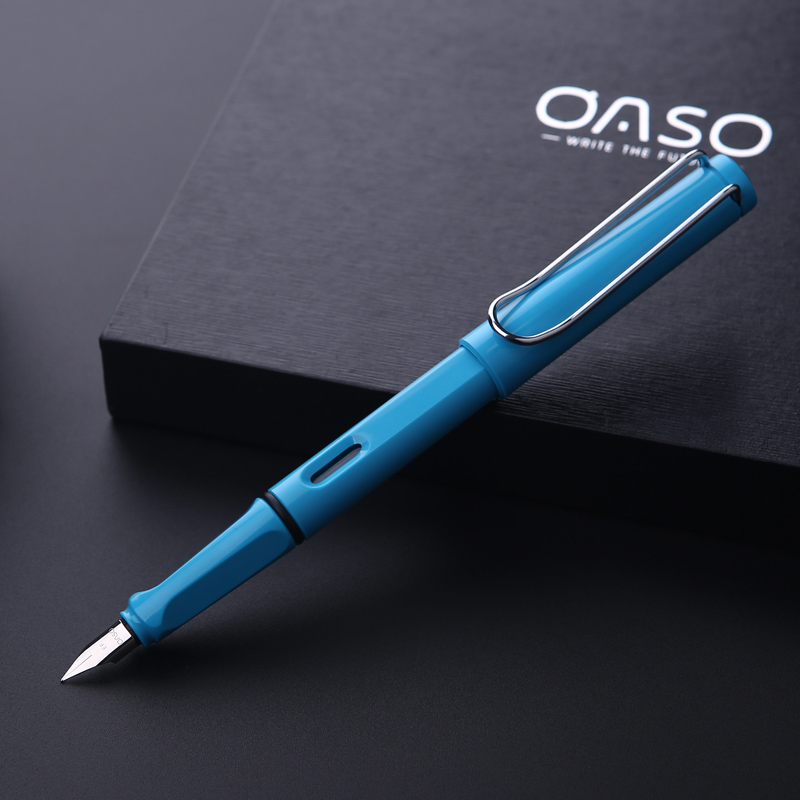 Promotion Stationery OASO T7 Luxury Style F Nib Resin Fountain Pen with Bottle Ink Colorful Pens Set for Christmas Gift italic nib art fountain pen arabic calligraphy black pen line width 1 1mm to 3 0mm