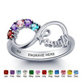 Personalized Infinity DIY Love Family Ring Colorful Cubic Zirconia 925 Sterling Silver Jewelry Free Gift Box (Silveren SI1784)