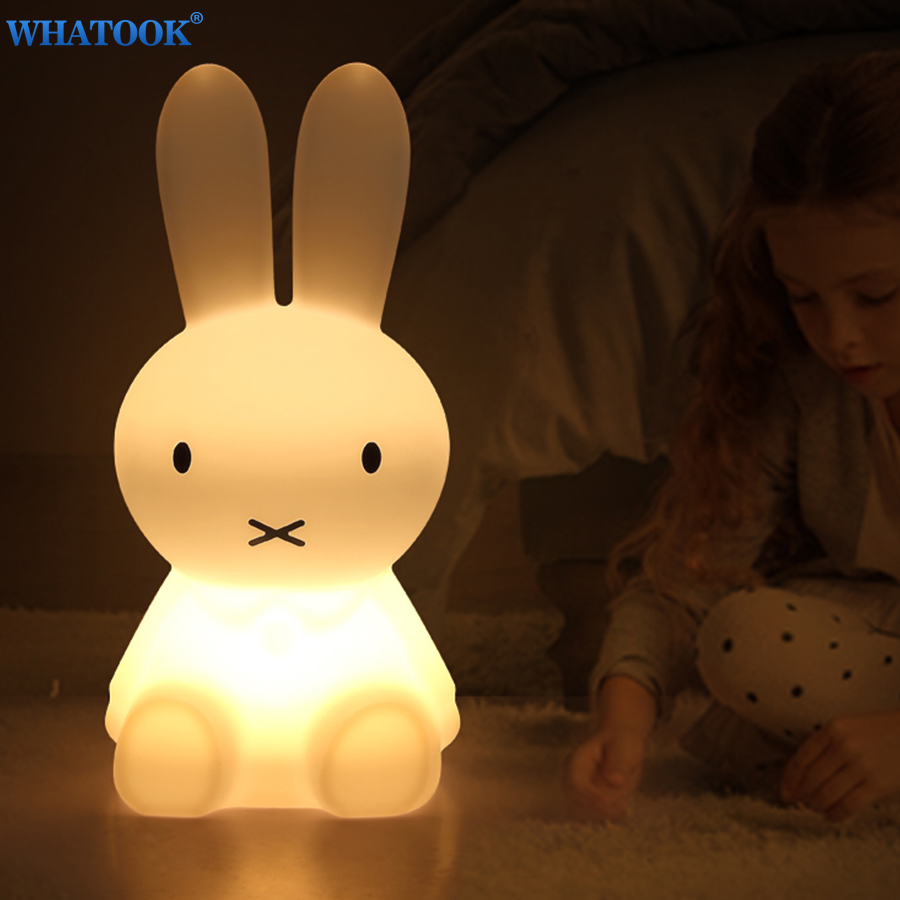 Silicone Rabbit LED Night Lights for Children Baby Bedroom Animal Lamp Cartoon Decorative Lovely Sleeping Lampen Christmas Gifts цены