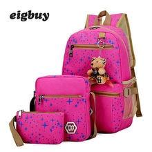Women Canvas 3pcs/set School Backpacks College bag Fashion Plecak For Teenager Girl Rucksack Moclila Shoulder Bag