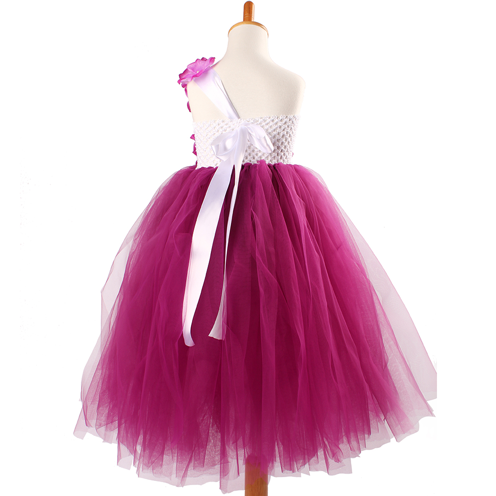 Image 4 - Burgundy Hydrangea Flower Girls Tutu Dress Children Wedding Jr. Bridesmaid Tulle Dress Kids Photo Prop Birthday Party Ball GownDresses   -