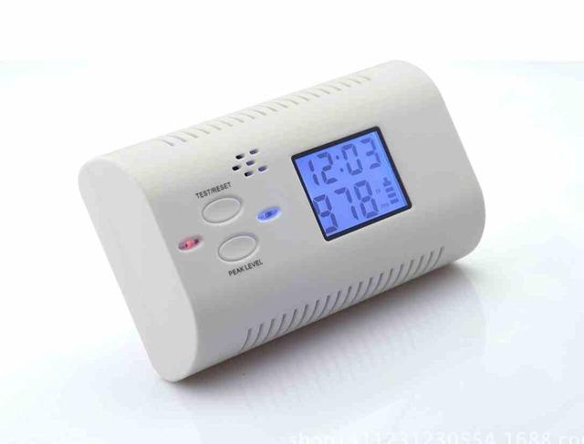 Bateria Operado Co Detector De Monóxido De Carbono Envenenamento Alarme Sensor De Gás Aviso de Incêndio Seguro Display LCD com Relógio Voz de Advertência