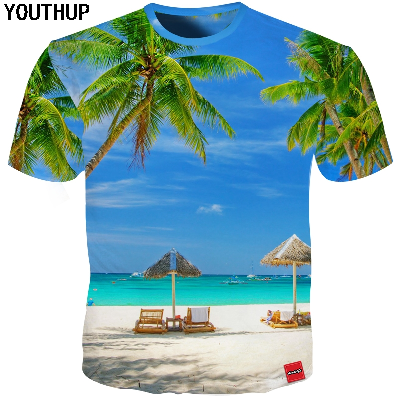 YOUTHUP Harajuku T Shirt Men Sky Tree Print 3d Holiday T shirt Casual Hawaii Tees Shirt Homme Tops Plus Size Beach Funny t shirt