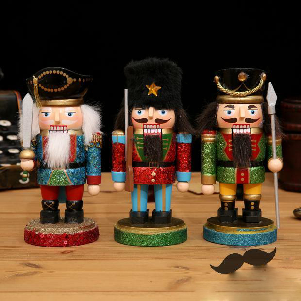 3x 6 inch wood toys handmade polish german nutcracker soldier birthday for children wooden christmas collectible - German Handmade Wooden Christmas Decorations