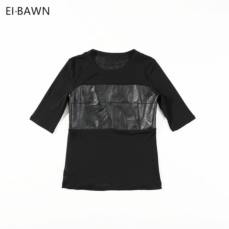 2019 New Arrival Women Tops And Clouses Black Real Leather Cotton Stitching Five Sleeves Round Neck All Match High Quality