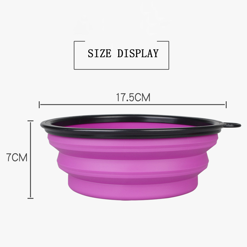 1000ML Big Volume Silicone Dog Bowl Dog Cat Travel Bowl Collapsible Feeding Water Dish Feeder Portable Water Bowl for Pets (2)