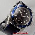 41 мм corgeut черный циферблат синий ободок сапфировое стекло miyota автоматические мужские часы 70