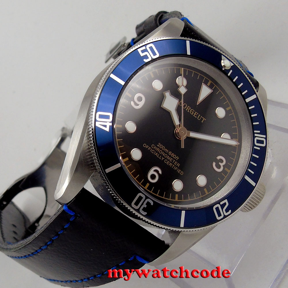 41mm corgeut black dial blue bezel Sapphire Glass miyota automatic mens Watch 70 rare archaize 5 hands mechanical pure brass pocket watch freeship