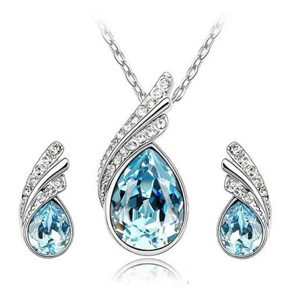 Fashion Elegant Bridal Jewelry Waterdrop Crystal Leaf Silver Plated Necklace Earring Set For Women Party Anniversary