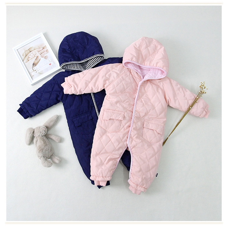 02a26733f Myudi Warm Baby One Piece Romper Boy Girl s Coat Newborn Solid Color Cotton  Padded Thick Bodysuit Hooded Toddler Clothing-in Snow Wear from Mother   ...