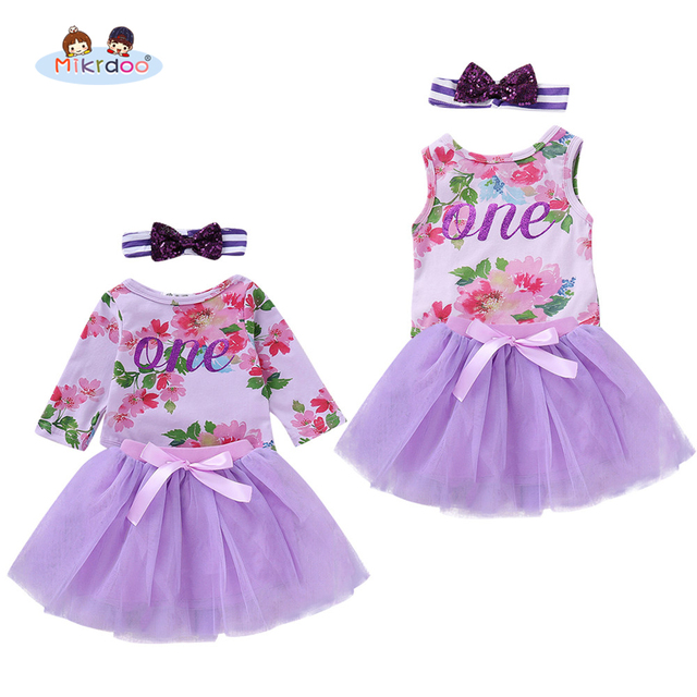 Toddler Infant Baby Girls Fashion Princess Clothes Set Floral One Letters Print Romper Purple Tutu Skirt Headband 3PCS Outfit