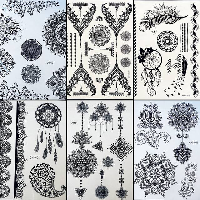 Online Shop 6 Pieces Lot Black Flower Henna Temporary Tattoo Sleeve