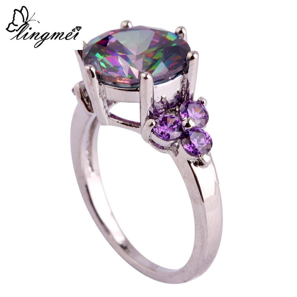 lingmei Wholesale Mysterious Rainbow CZ & Purple Silver Ring Storlek - Märkessmycken - Foto 4