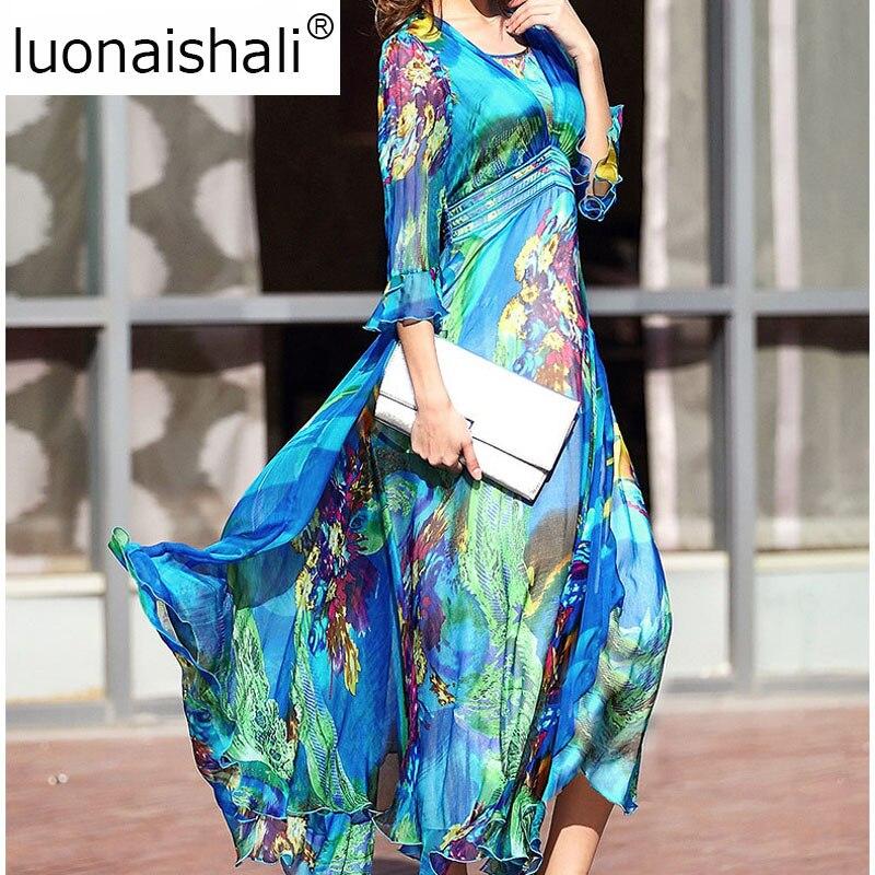 K131 Soirée Robes Imprimé Floral Plage 2019 Xxxl Femmes Boho Soie Style Robe D'été Bleu Ruches De InRw6P7