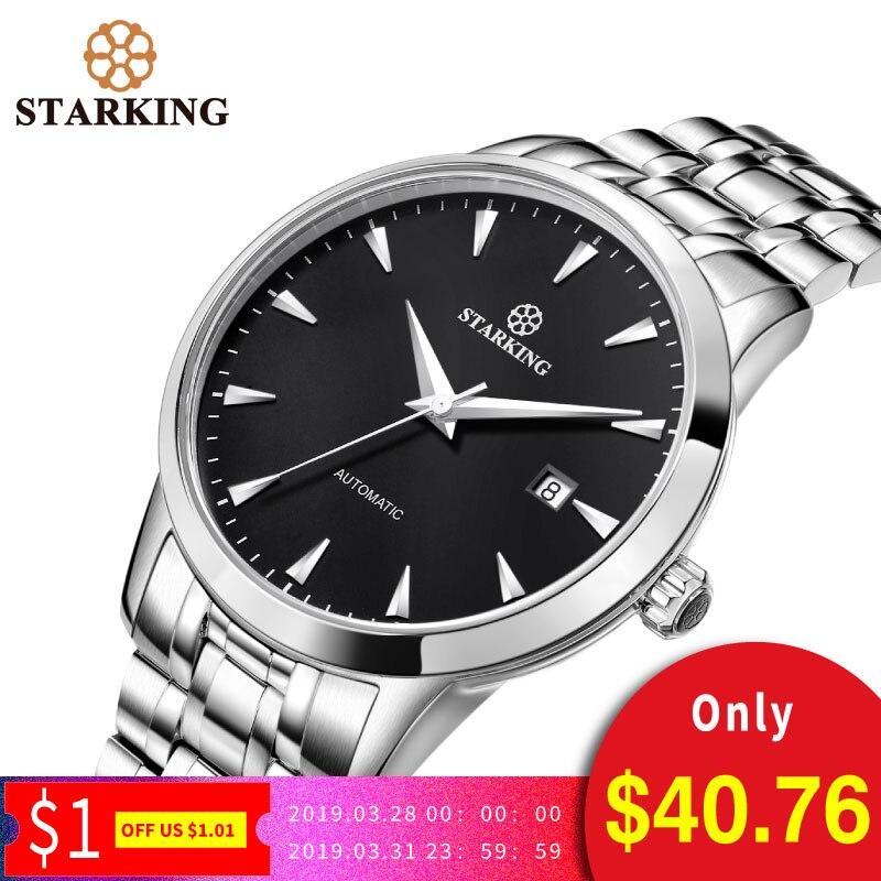 STARKING D'origine montre de marque Hommes Automatique Auto-vent acier inoxydable 5atm Étanche Hommes D'affaires montre-bracelet Montres AM0184