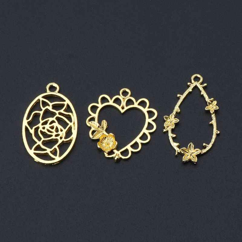 3Pcs Hollow Flower Decor Photo Frame Pendants Bezel Setting Resin Jewelry Making