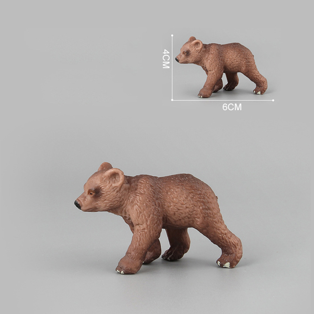 Mini Wild Life Bears Toys Children Kids Simulated Animal Action Figures Brown Bear Cute Toy Figures Home Decor Collection Lover