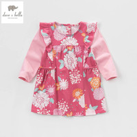 DB4476 Dave Bella Spring Baby Girls Fancy Flower Printed Dress Girls Floral Cotton Chinese Style Dress