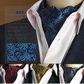 Caliente populares de Alta Calidad de Los Hombres de La Vendimia Formal de la Boda Scrunch Cravat Ascot Auto estilo Británico Caballero Corbata de Seda