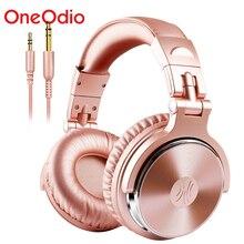 Oneodio estúdio profissional dj com fio fones de ouvido com microfone sobre a orelha de alta fidelidade monitores música fone de ouvido para o telefone pc rosa